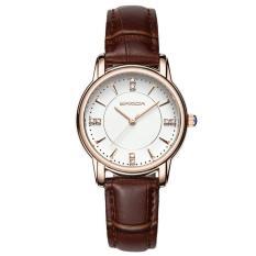 Đồng hồ nữ dây da cao cấp SANDA JAPAN 286 đính đá sang trọng – Dây nâu + Tặng dây chuyền tỳ hưu thạch anh