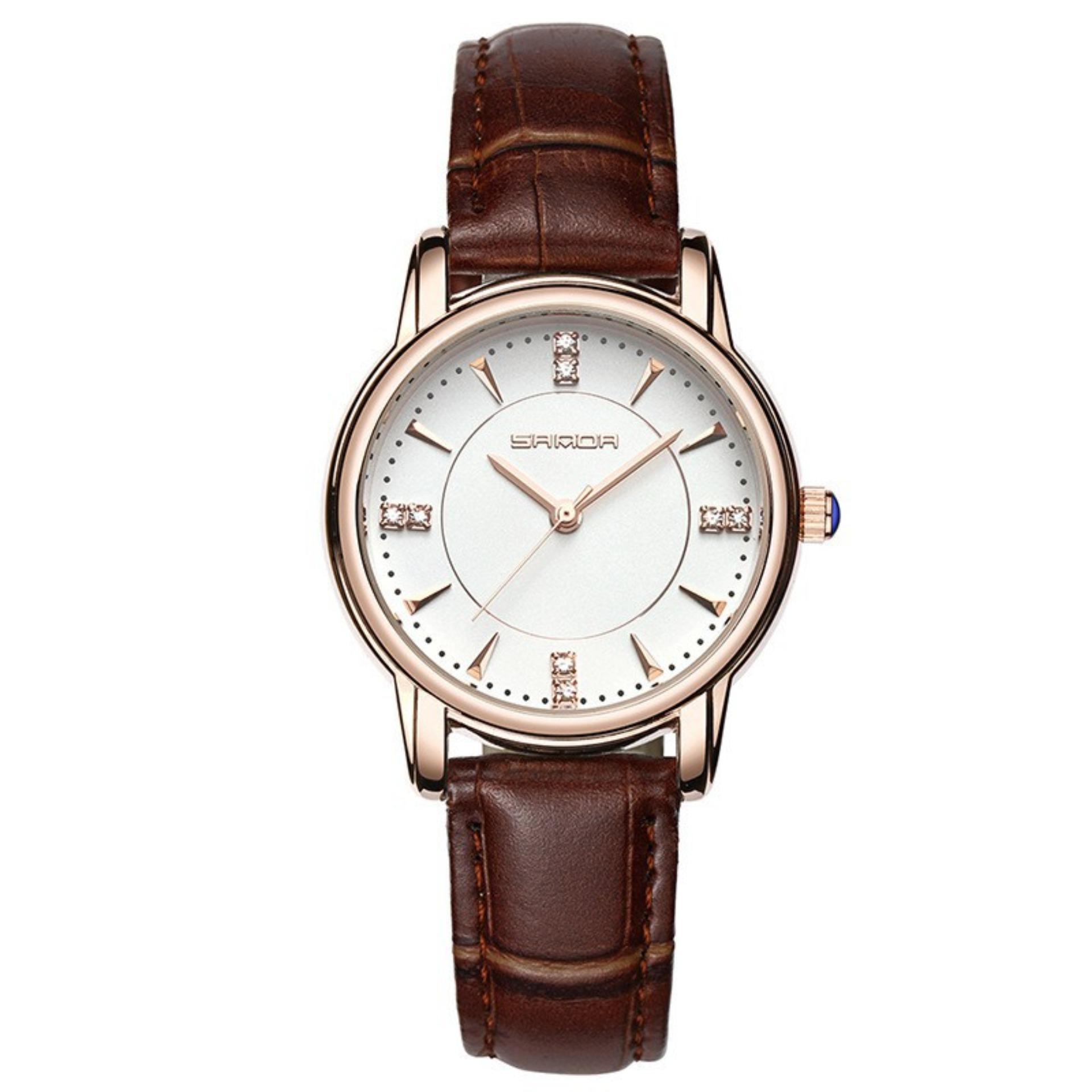 Đồng hồ nữ dây da cao cấp SANDA JAPAN 286 đính đá sang trọng - Dây nâu + Tặng dây...
