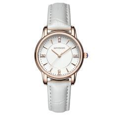 Đồng hồ nữ dây da cao cấp SANDA JAPAN SA286 đính đá sang trọng – Dây trắng + Tặng dây chuyền tỳ hưu thạch anh