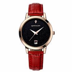 Đồng hồ nữ dây da cao cấp SANDA JAPAN MOVT - dây đỏ, tặng kèm vòng tay xinh xắn