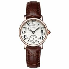 Đồng hồ nữ dây da cao cấp SANDA JAPAN P206 + Tặng kèm vòng tay thạch anh – Dây nâu