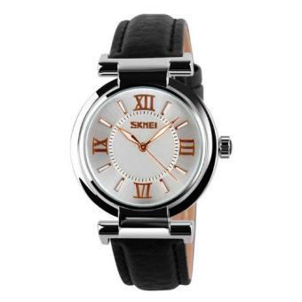 Đồng hồ nữ dây da cao cấp Skmei 5701 (Dây đen - Mặt trắng)