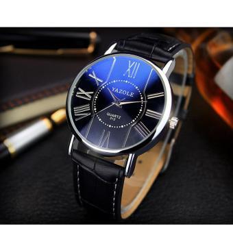 Đồng hồ nữ dây da cao cấp Yazole 9503 (Dây đen mặt xanh)