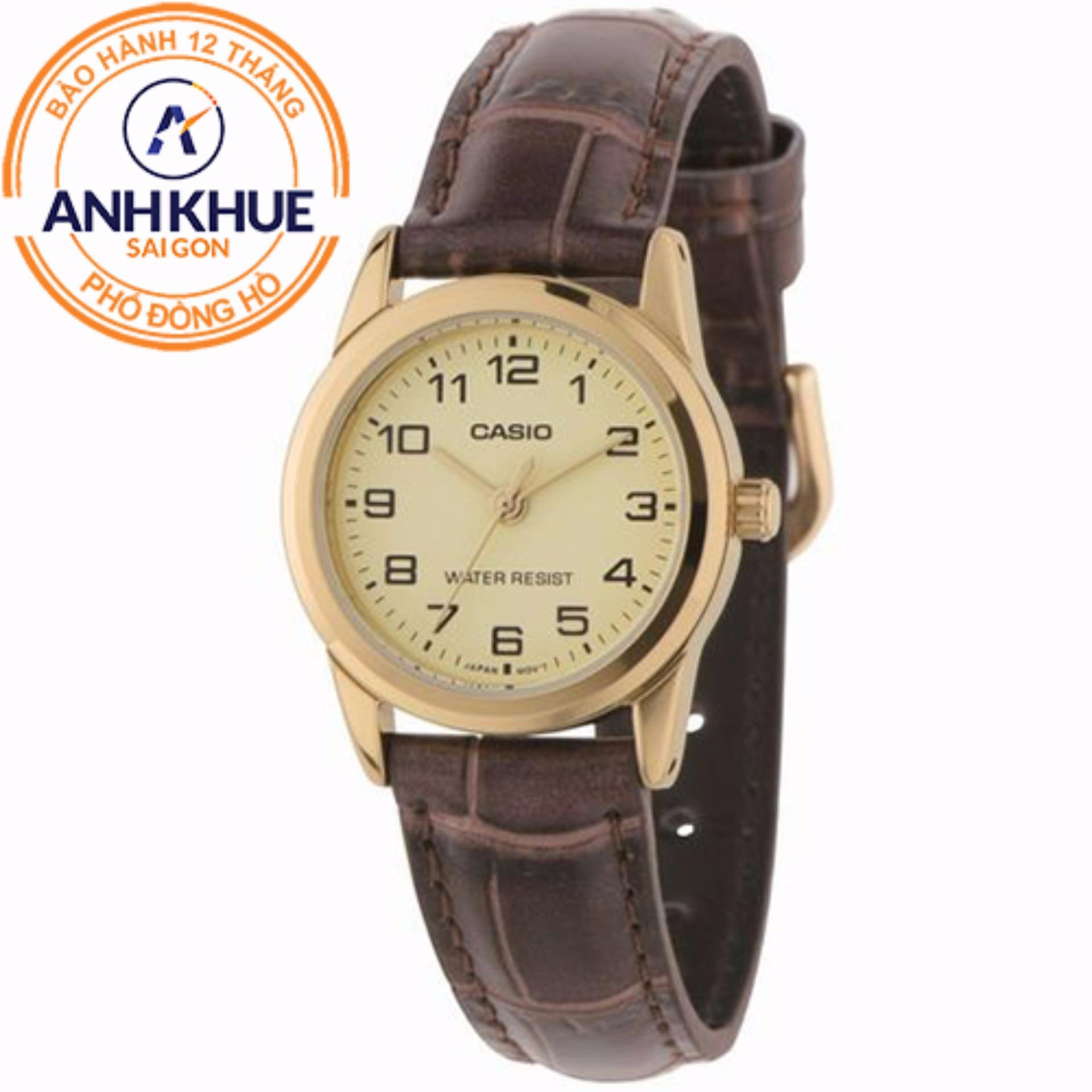 Đồng hồ nữ dây da Casio Anh Khuê LTP-V001GL-9BUDF