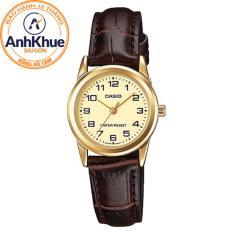 Đồng hồ nữ dây da Casio LTP-V001GL-9BUDF (Vàng)