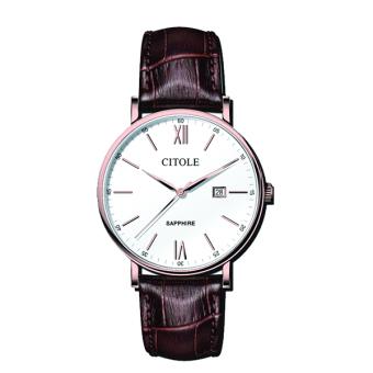 Đồng hồ nữ dây da Citole CT5157LT (Dây nâu mặt Trắng)