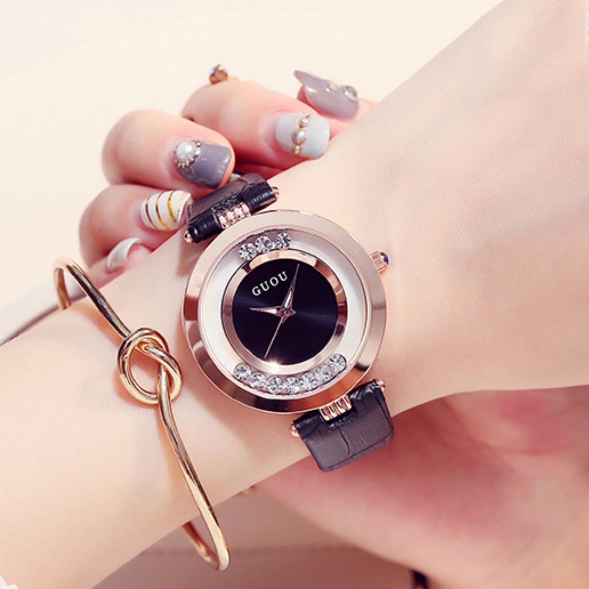 Đồng hồ nữ dây da đá xoay Guou G2017 màu đen + Tặng kèm vòng tay nữ xinh xắn