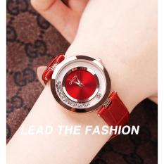 Đồng hồ nữ dây da đá xoay Guou GU045 + Tặng kèm vòng tay thạch anh – Màu đỏ