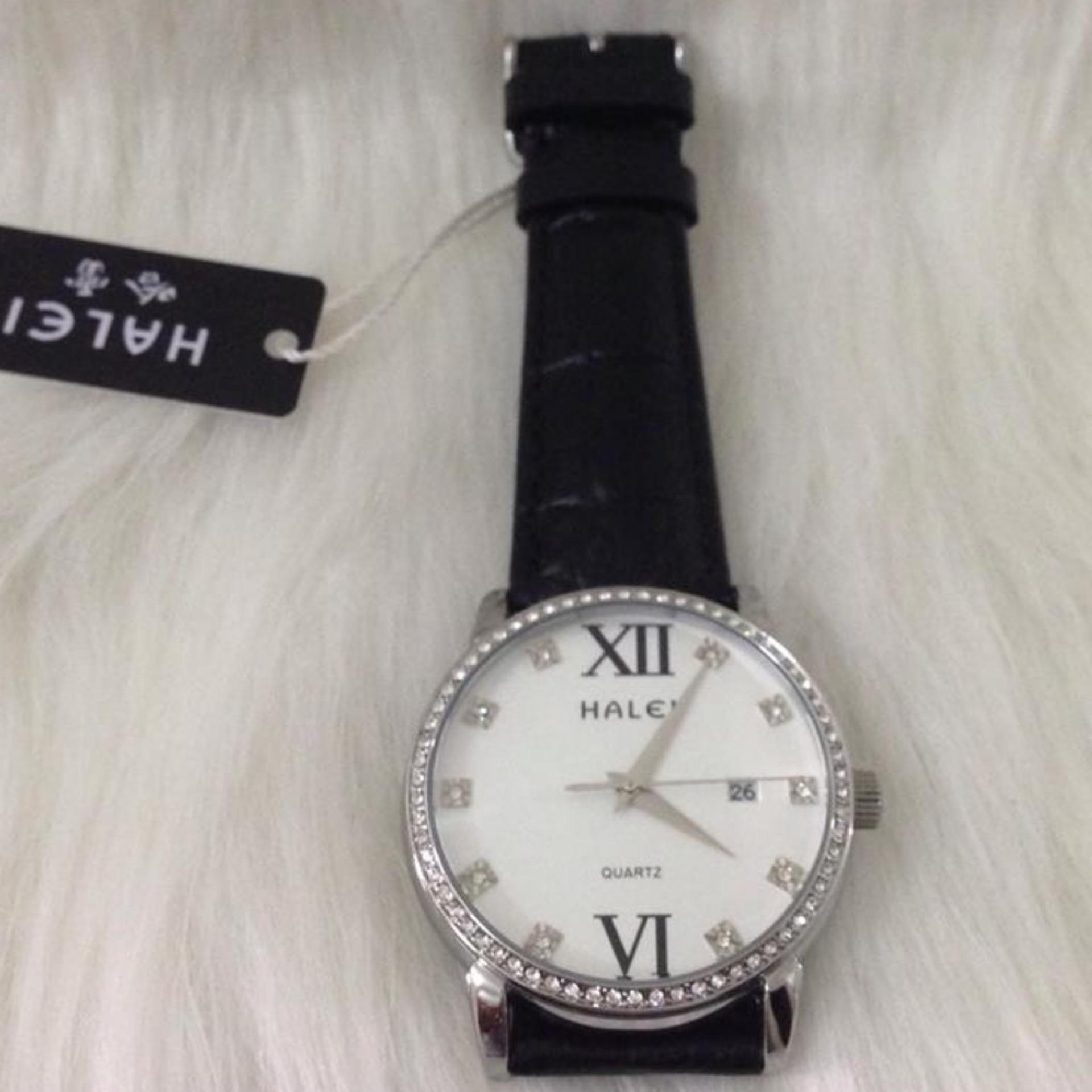 Đồng hồ nữ dây da đen Halei ( mặt trắng)