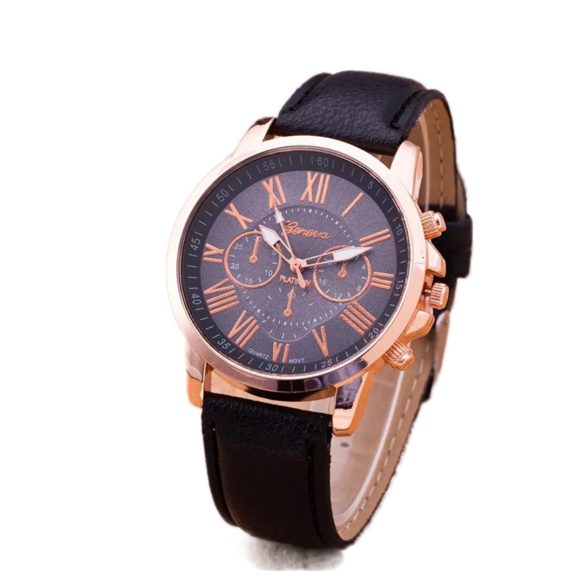 Đồng hồ nữ dây da Geneva cá tính (Đen)