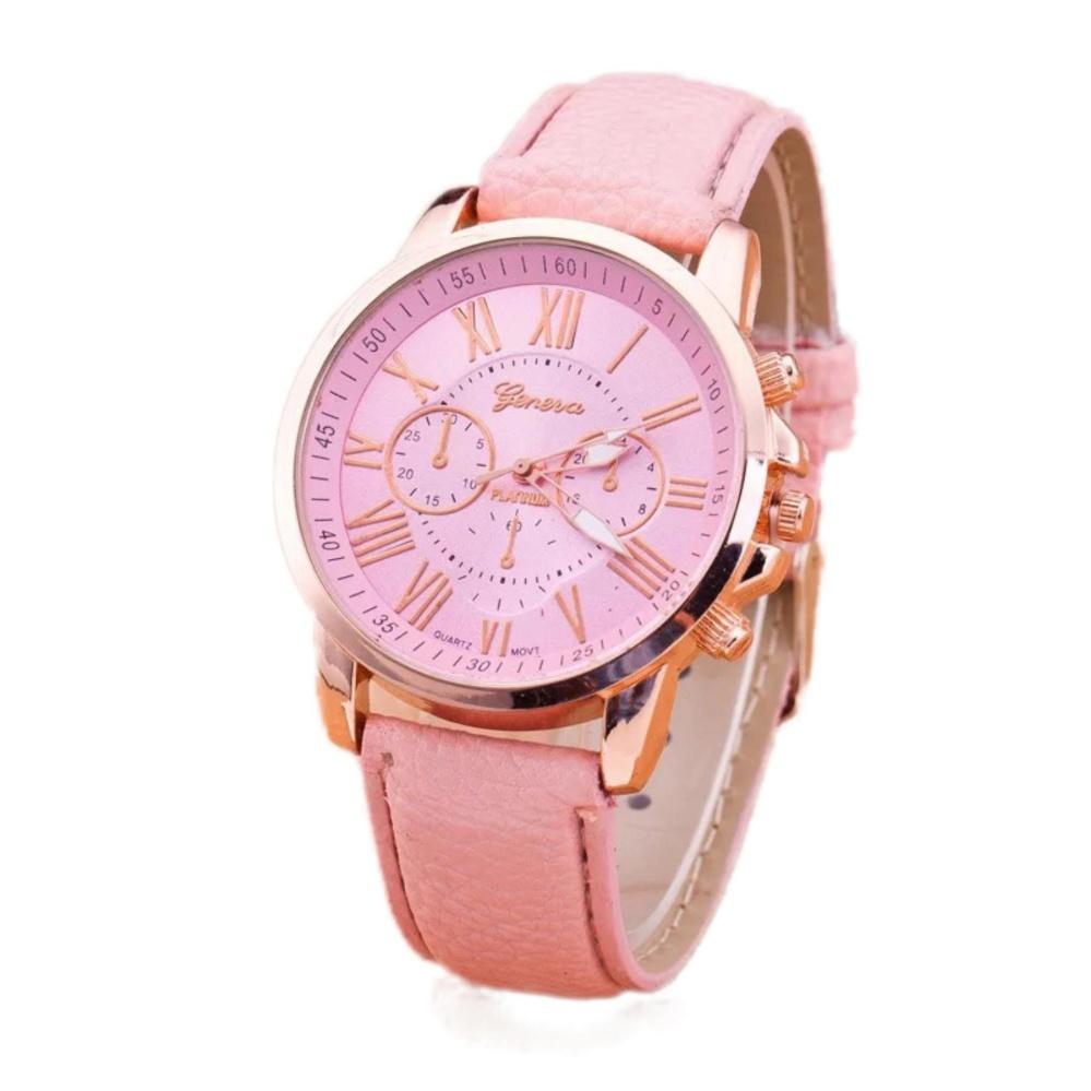 Đồng hồ nữ dây da Geneva cá tính (Hồng)