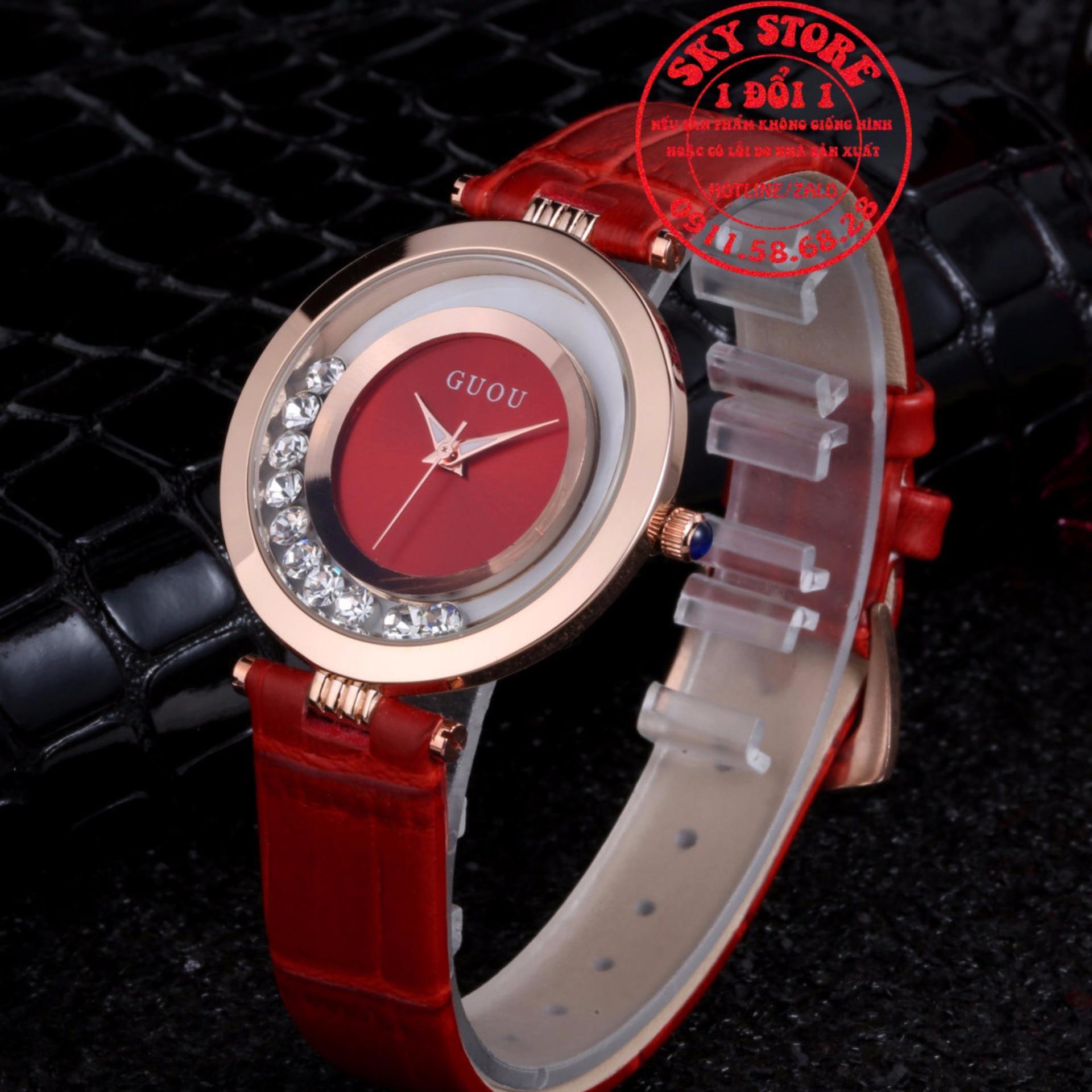 Chi tiết sản phẩm Đồng hồ nữ dây da GUOU 8039 (Đỏ)