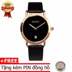 Đồng hồ nữ dây da GUOU B1001 (đen)