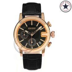 Đồng hồ nữ dây da GUOU CH346 (Mặt đen, Dây đen)