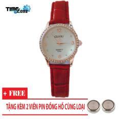 Đồng hồ nữ dây da Guou Hàn Quốc 6761 Mặt Đính Đá (Dây Đỏ, Mặt Trắng) + Tặng Kèm Pin Đồng Hồ