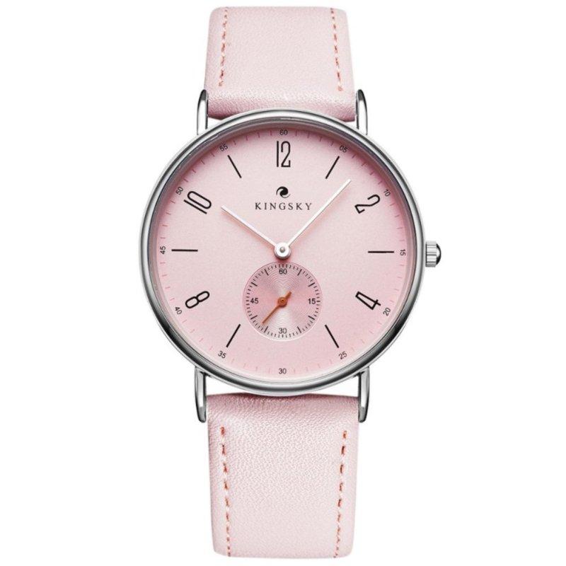 Nơi bán Đồng hồ nữ dây da KingSky  full kim ZE91 (màu hồng phấn)