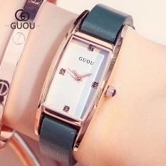 Đồng hồ nữ GUOU dây da mặt chữ nhật đính đá xinh xắn MDL-G8085