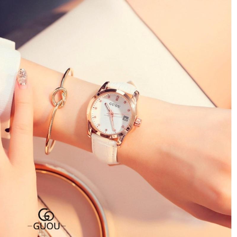 Nơi bán Đồng hồ nữ dây da mặt số đính đá GUOU MDL-8025  - tặng vòng tay pha lê