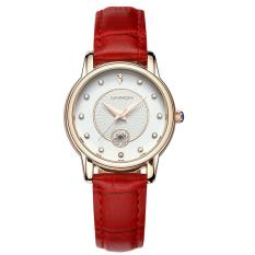 Đồng hồ nữ dây da Sanda 198 lịch ngày sang trọng (Trắng phối đỏ)