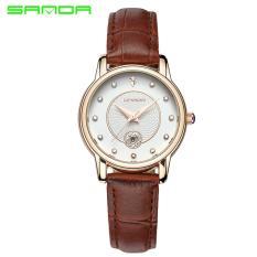 Đồng hồ nữ dây da Sanda 198 lịch ngày sang trọng (Trắng phối nâu)