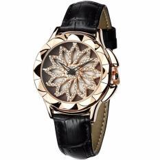 Đồng hồ nữ dây da SANDA JAPAN hoa xoay 360 độc đáo SA211 – Dây đen + Tặng hộp & pin dự phòng cao cấp