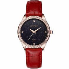 Đồng hồ nữ SANDA JAPAN SA214 dây da mặt kim tuyến – Tặng kèm vòng tay nữ xinh xắn