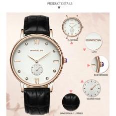 Đồng hồ nữ dây da sang trọng Sanda 2,5 kim (Trắng phối đen)