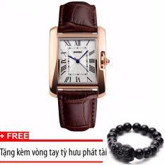 Đồng hồ nữ dây da SKMEI 1085 (Nâu)+Tặng vòng tay tỳ hưu phát tài