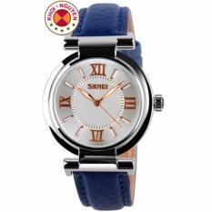 Đồng hồ nữ dây da Skmei 9075 (Xanh)