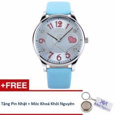 Đồng hồ nữ dây da Skmei 90KCN85 (Xanh) + Tặng pin Nhật, móc khoá