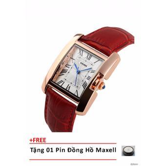 Đồng hồ nữ dây da SKmei + tặng 01 viên pin