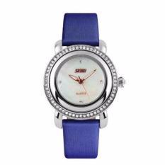 Đồng hồ nữ dây da SKMEI viền đá Skmei (Xanh)