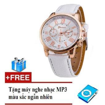Đồng hồ nữ dây da tổng hợp Geneva GE003-2 (Trắng) + Tặng máy nghe nhạc mp3