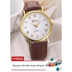 Đồng hồ nữ dây da tổng hợp Geneva GE015-1 (Nâu) + Tặng 1 jack chống bụi cho điện thoại