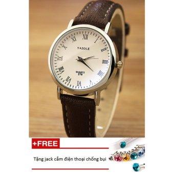 Đồng hồ nữ dây da tổng hợp Yazole PKHRYA004-2 (nâu mặt trắng) + Tặng 1 jack chống bụi cho điện thoại
