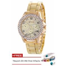 Đồng hồ nữ dây hợp kim Geneva PKHRGE047-3 (vàng) + Tặng 1 jack chống bụi cho điện thoại