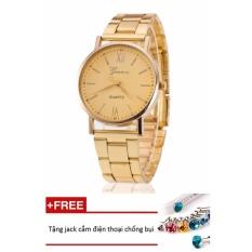 Đồng hồ nữ dây hợp kim Geneva PKHRGE050-1 (vàng mặt ngà) + Tặng 1 jack chống bụi cho điện thoại