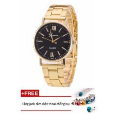 Đồng hồ nữ dây hợp kim Geneva PKHRGE050-2 (vàng mặt đen) + Tặng 1 jack chống bụi cho điện thoại