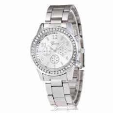 Đồng hồ nữ dây kim loại đính đá Geneva – BQ161-TRANG (Trắng)