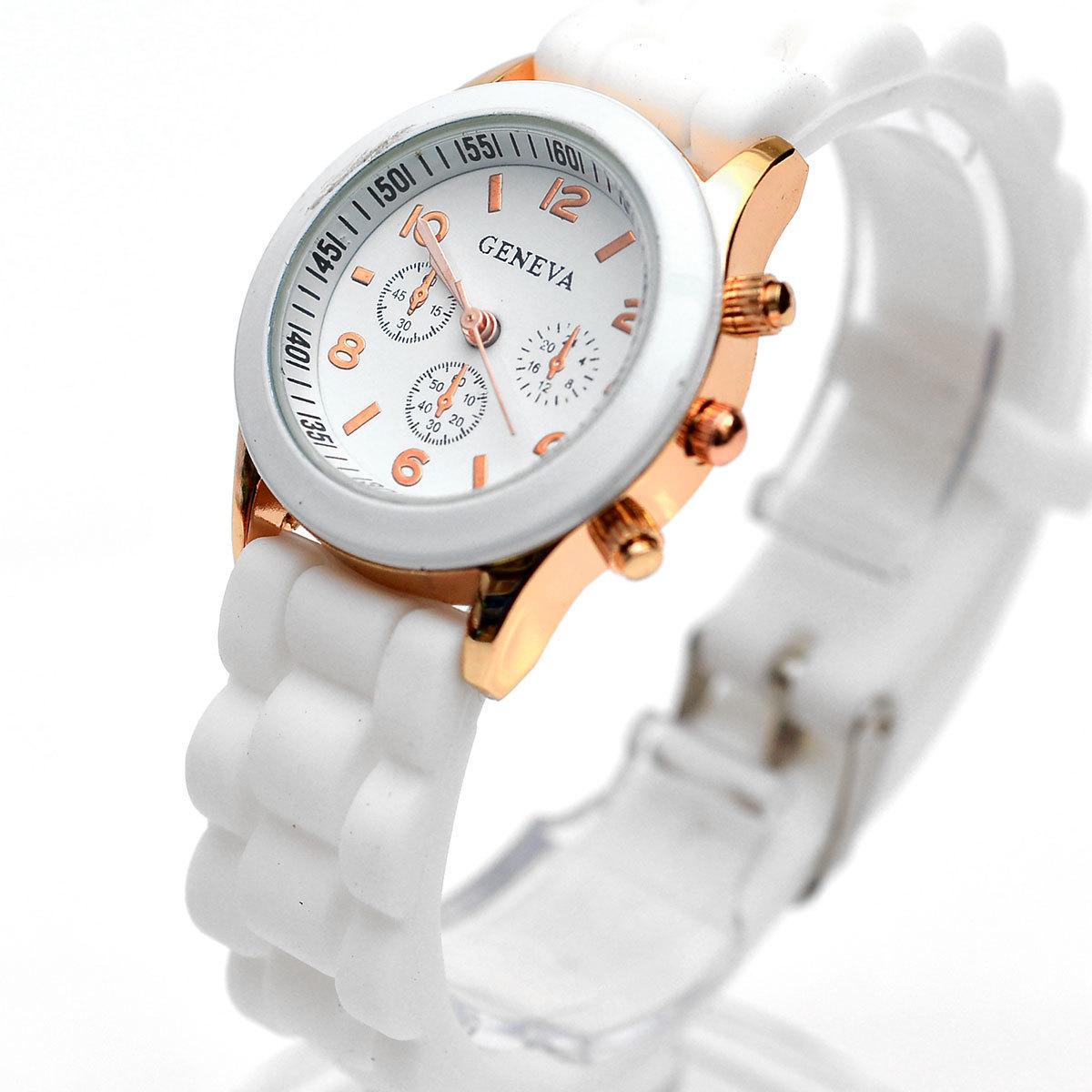 Đồng hồ nữ dây nhựa Geneva cỡ nhỏ (Trắng)