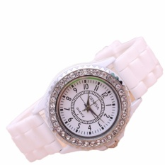 Đồng hồ nữ dây silicon Geneva Đính Đá Fashion (Dây Trắng, Mặt Trắng) + Tặng Kèm Hộp