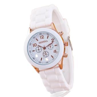 Bảng Giá Đồng hồ nữ dây silicon Geneva Khởi My giá rẻ (Dây Trắng, Mặt Trắng)