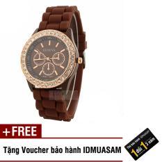 Đồng hồ nữ dây silicon thời trang Geneva 8274 (Nâu) + Tặng kèm voucher bảo hành IDMUASAM