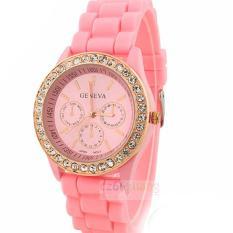 Đồng hồ nữ dây silicon thời trang Geneva 8277 (Hồng nhạt)