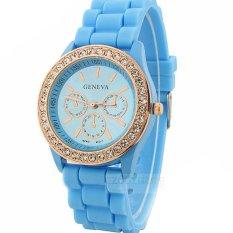 Đồng hồ nữ dây silicon thời trang Geneva 8279 (Xanh dương)