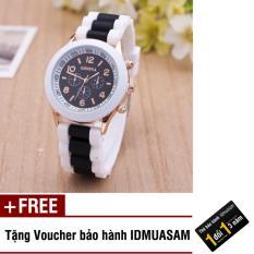 Đồng hồ nữ dây silicon thời trang Geneva 8291 (Đen) + Tặng kèm voucher bảo hành IDMUASAM