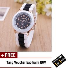 [SP Freeship]Đồng hồ nữ dây silicon thời trang Geneva IDW 8291 + Tặng kèm voucher bảo hành IDW