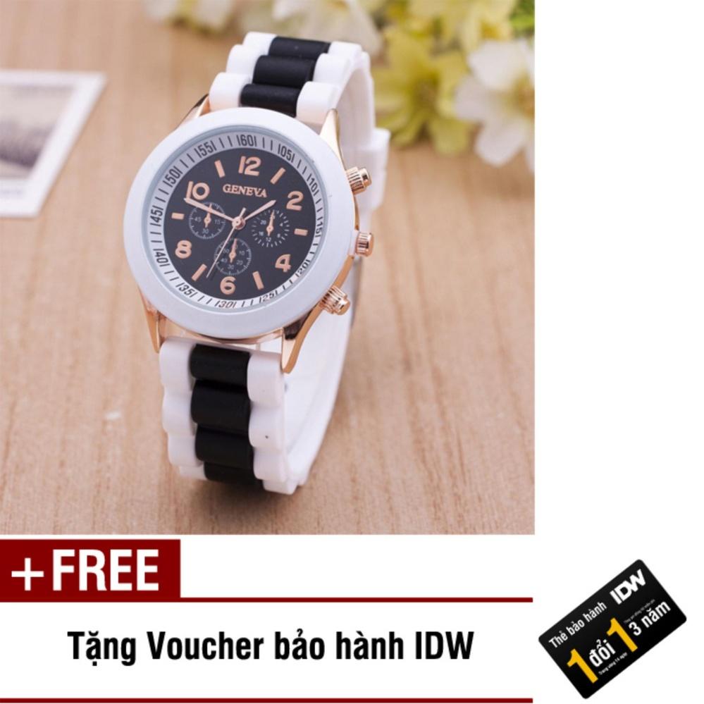 Đồng hồ nữ dây silicon thời trang Geneva IDW 8291 + Tặng kèm voucher bảo hành IDW