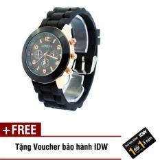 [Có video quay thật] Đồng hồ nữ dây silicon thời trang Geneva IDW 9001 + Tặng kèm voucher bảo hành IDW