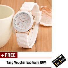 Đồng hồ nữ dây silicon thời trang Geneva IDW 9002 (Mặt trắng) + Tặng kèm voucher bảo hành IDW